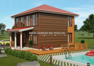 Каркасный двухэтажный дом 8х9 проект № 1