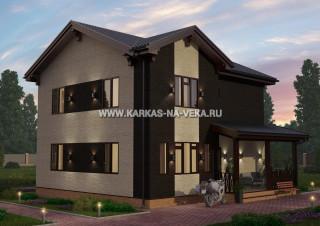 Каркасный двухэтажный дом 9х10 проект № 1
